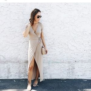 Tan Short Sleeve Wrap Dress